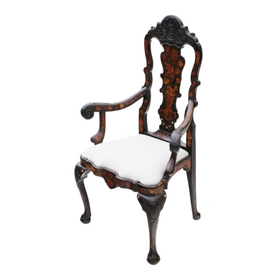 18th Century Dutch Marquetry Elbow Arm Chair