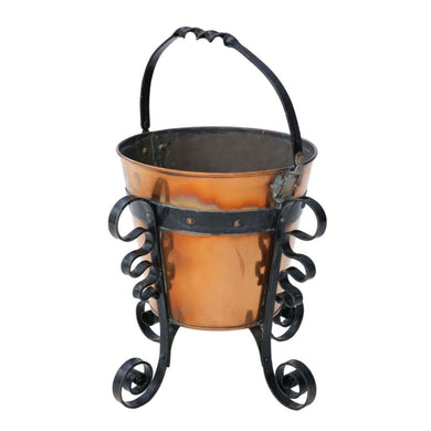 Early 20th Century Iron and Brass Coal Scuttle Bucket