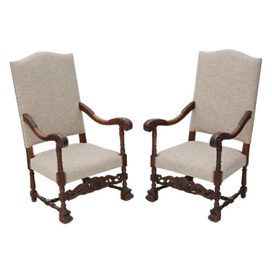 Pair of Charles II Revival Oak Armchairse