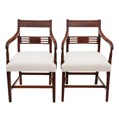 Pair of Fine Quality Regency Elbow Carver or Desk Chairs