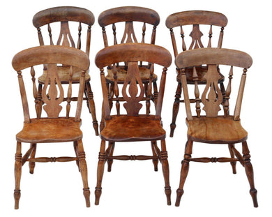 Set of 6 Victorian Ash & Elm Kitchen Dining Chairs