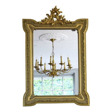 19th Century French Gilt Wall Overmantel Crest Mirror