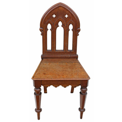 19th Century Gothic Mahogany Hall Chair