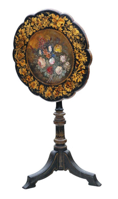 Victorian Hand Decorated Papier Mache Tilt Top Tea Wine Table