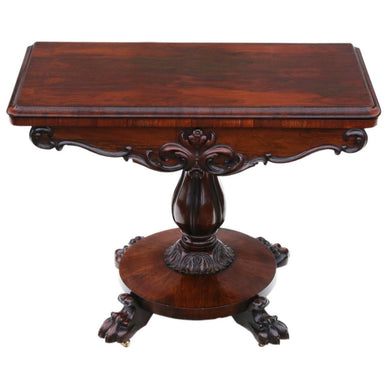 Regency Rosewood Folding Card Tea Console Table