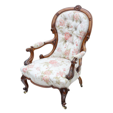 Victorian Walnut Spoon Back Armchair Slipper