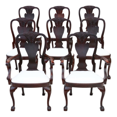 Carved Mahogany Queen Anne revival Dining Chairs