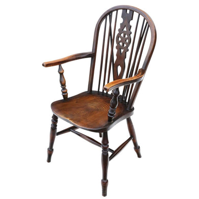 Victorian Ash and Elm Windsor Wheel Back Dining Armchair