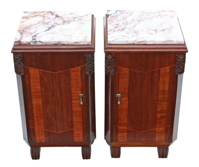 Pair of Art Deco Marquetry Marble Bedside Tables Cabinets
