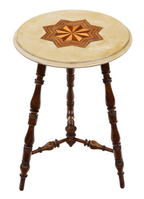 Victorian 19th Century Decorated and Inlaid Beech Cricket Occasional Side Table