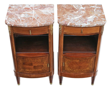 Pair of French Marquetry Bedside Tables Marble Cabinets