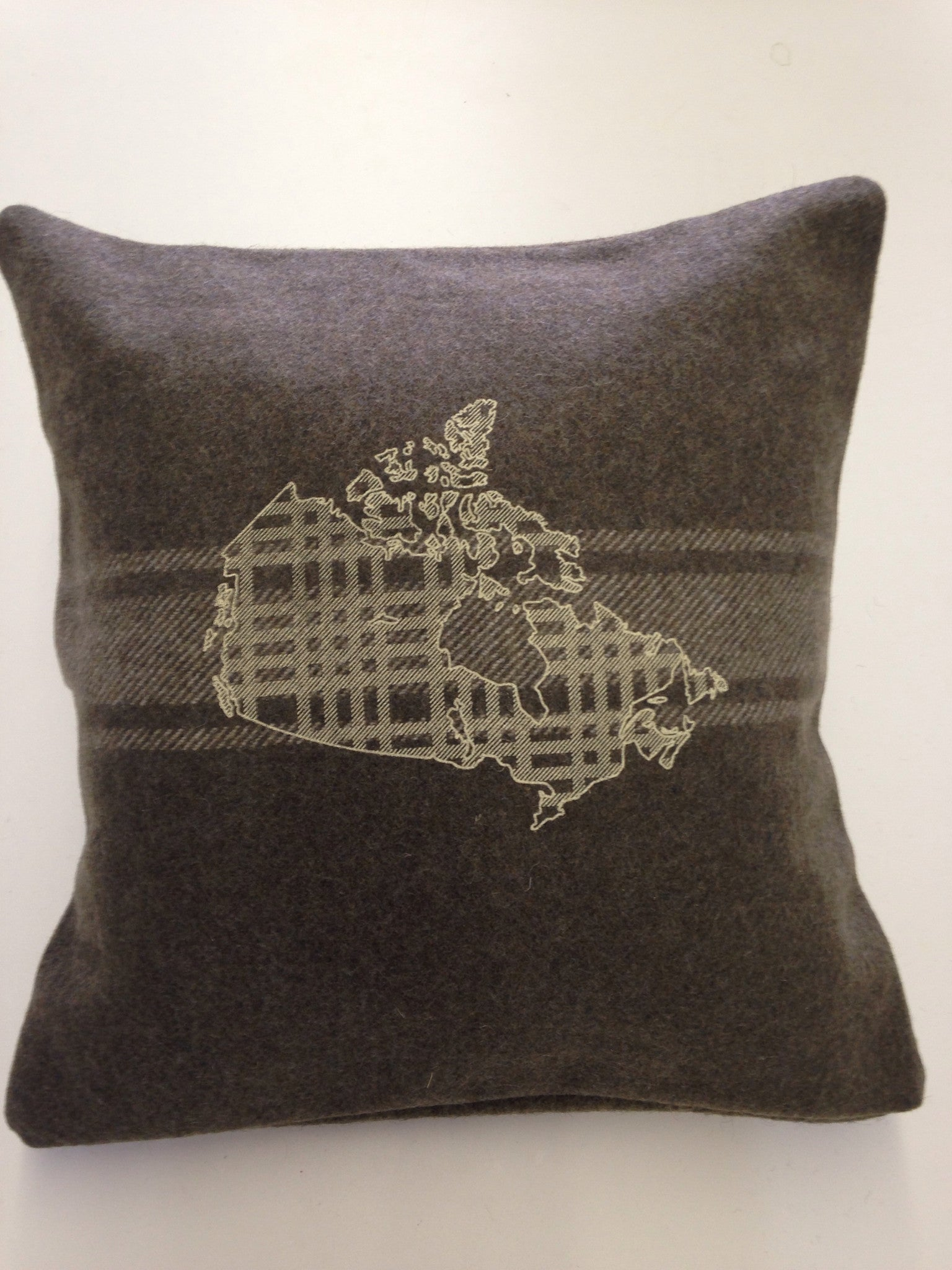 Army Green Map Oh Canada Cabin Pillow