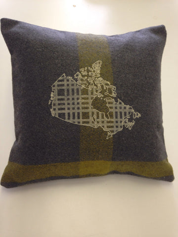 Grey Map Oh Canada Cabin Pillow