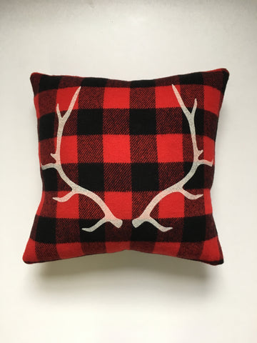 Red Plaid Antler Cabin Pillow