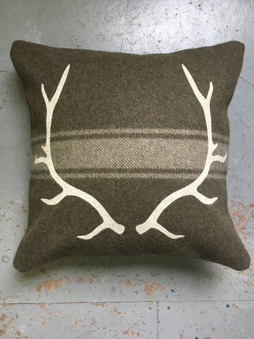 Army Green Antler Cabin Pillow