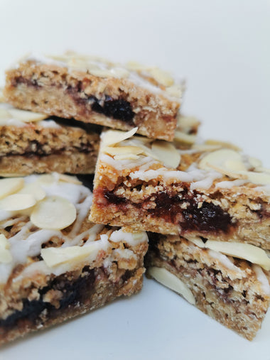 A stack of Cherry Bakewell flapjacks