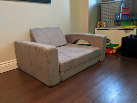chair play couch build in a bedroom in grey