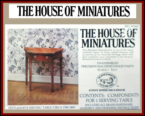 House of Miniatures Furniture Kit #40065 X-Acto Hepplewhite Serving Table XActo Dollhouse Mini Miniature Miniture 40065 Open Box
