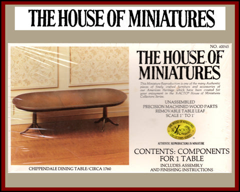 House of Miniatures Furniture Kit #40045 X-Acto Chippendale Dining Table XActo Dollhouse Mini Miniature Miniture 40045 Open Box