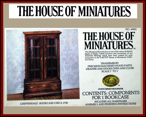 House of Miniatures Furniture Kit #40052 X-Acto Chippendale Bookcase XActo Dollhouse Mini Miniature Miniture 40052 Open Box