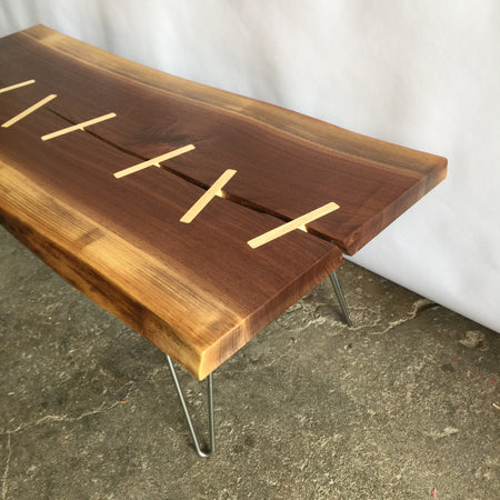 Walnut Slab Coffee Table with Mid Century Hairpin Legs - JeremiahCollection - 1