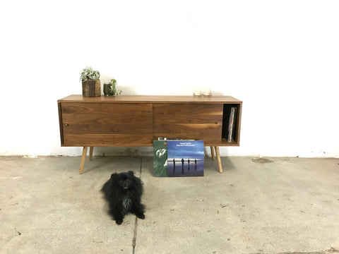 Low Walnut Mid Century Media Console Floor Sample - JeremiahCollection - 1