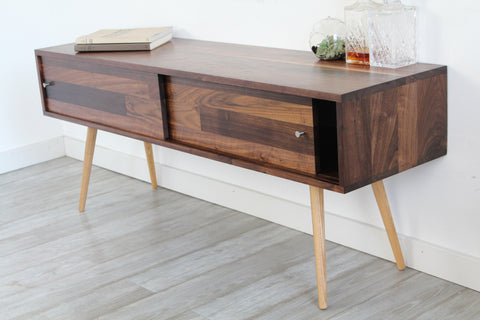 mid century solid walnut tv stand with sliding doors