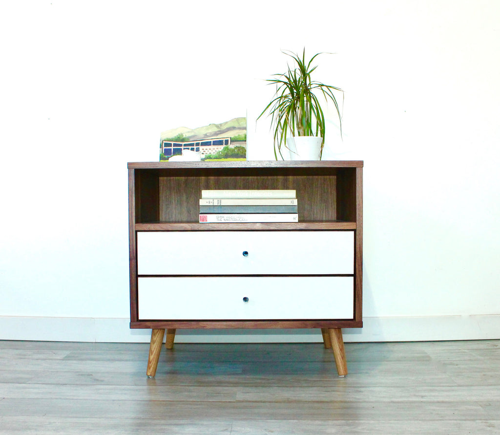 Mid Century Bedside Table With Two Drawers   JeremiahCollection   1