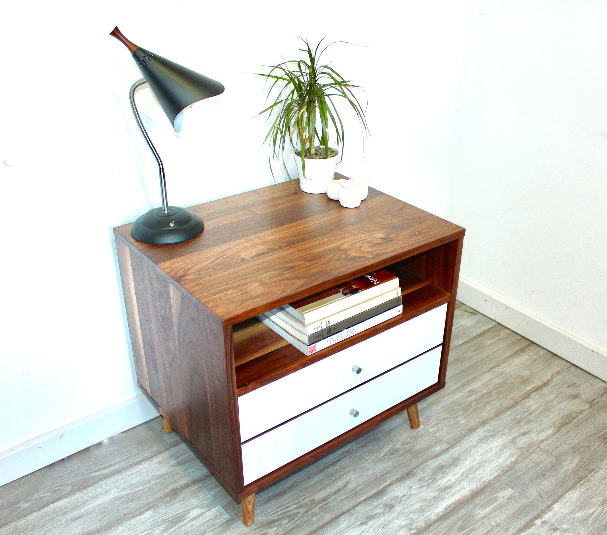 Mid Century Bedside Table with Two Drawers - JeremiahCollection - 2