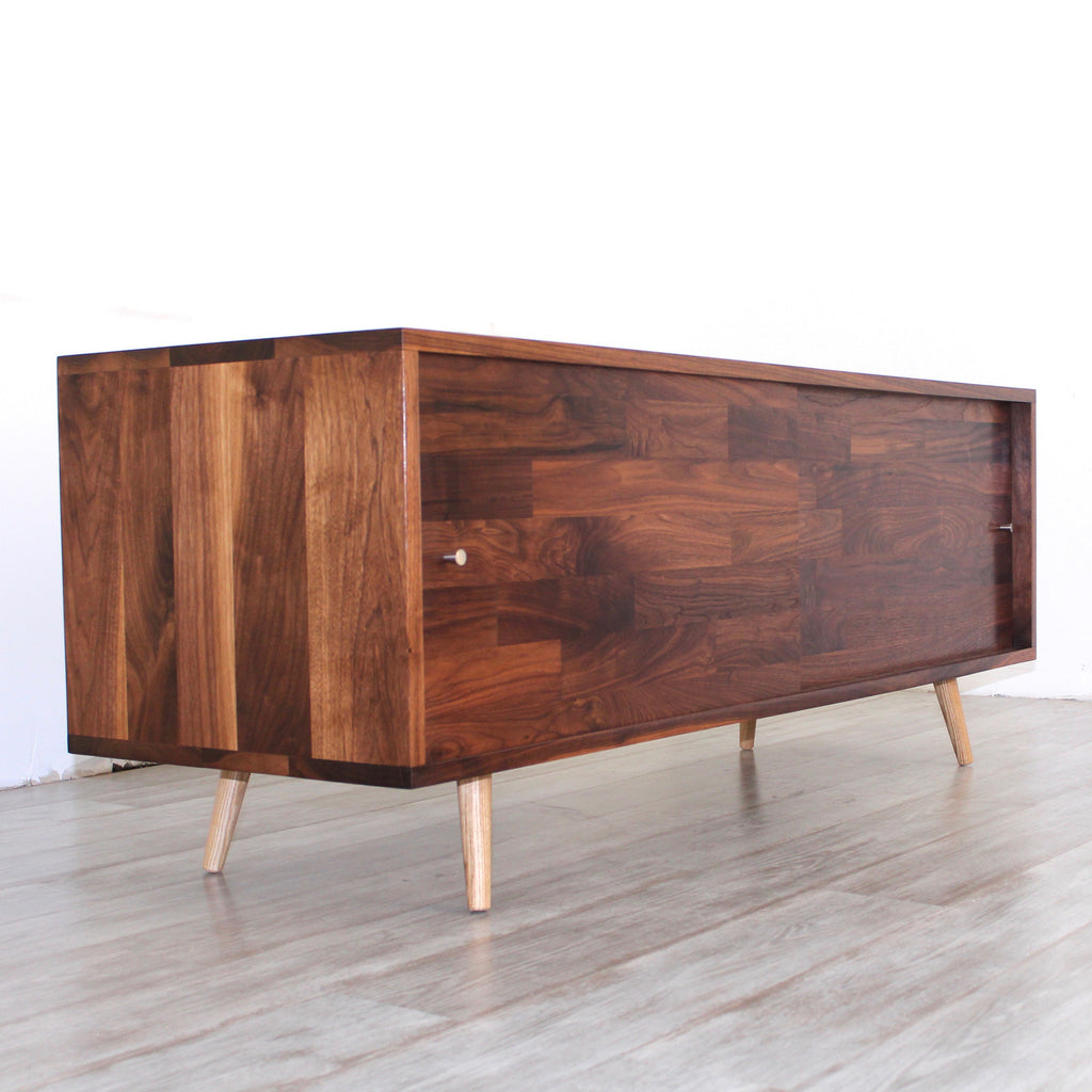 Low Walnut Mid Century Media Console Jeremiahcollection