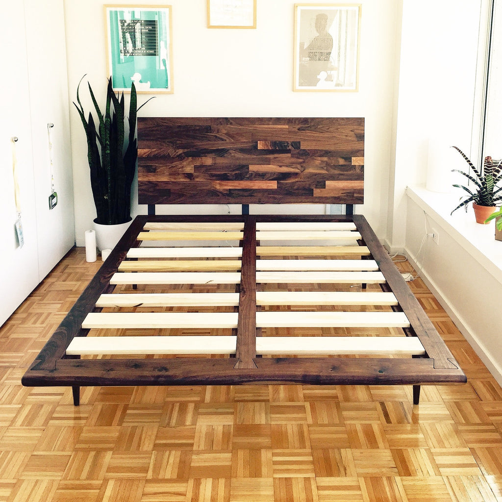 Roma Walnut Contemporary Bed: Mid Century Solid Walnut Platform Bed Free Delivery