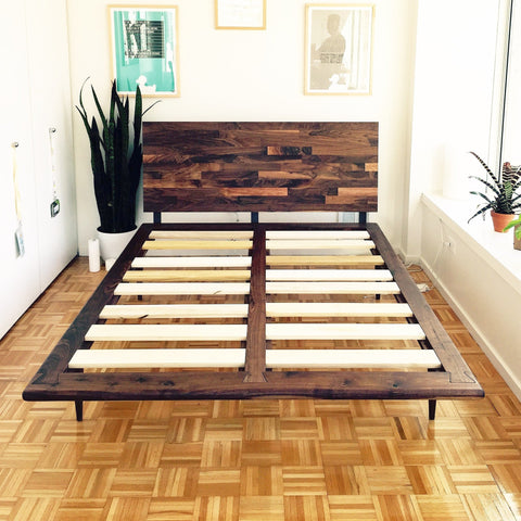 Mid Century Solid Walnut Platform Bed - JeremiahCollection - 1
