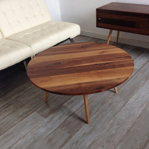 Round Mid Century Walnut Cocktail Table - JeremiahCollection - 1
