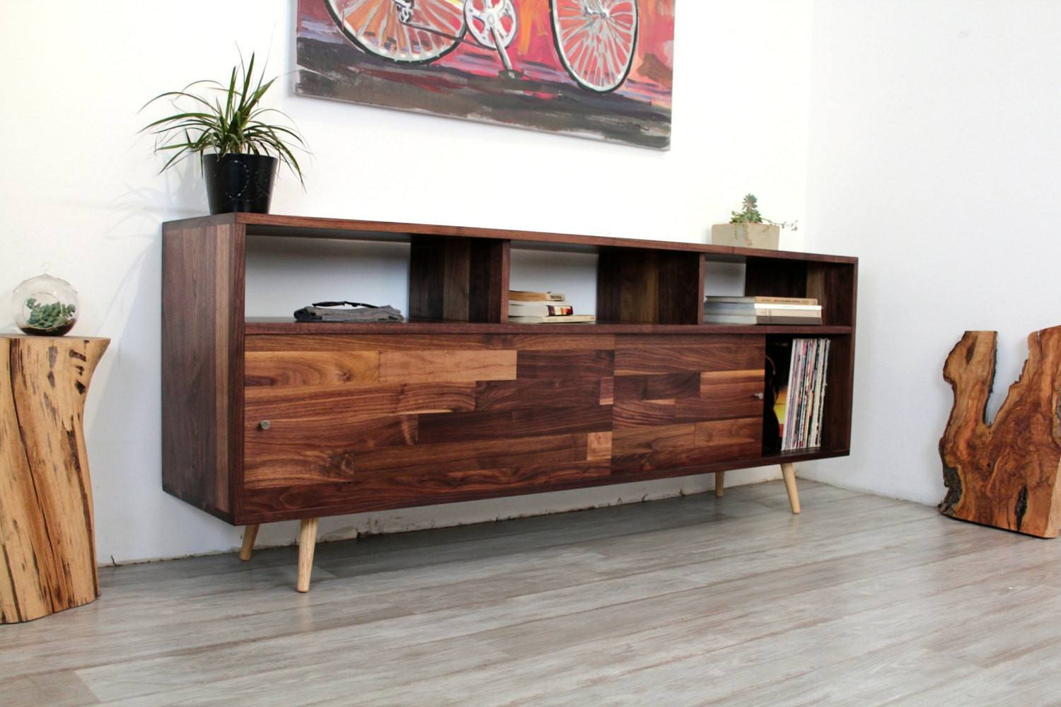 Mid Century Record Storage Console - JeremiahCollection - 2