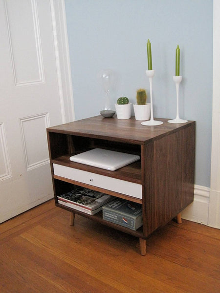 Mid Century Solid Walnut Bedside Storage Cabinet - JeremiahCollection