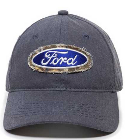Ford Licensed Blue Camo Outlined Logo Slouch Hat Camo Brim