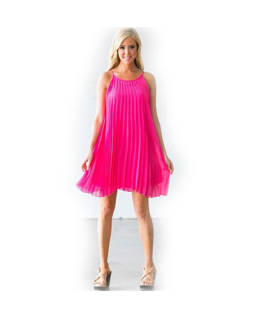 Wild Child Hot Pink Pleated Dress - The Laguna Room