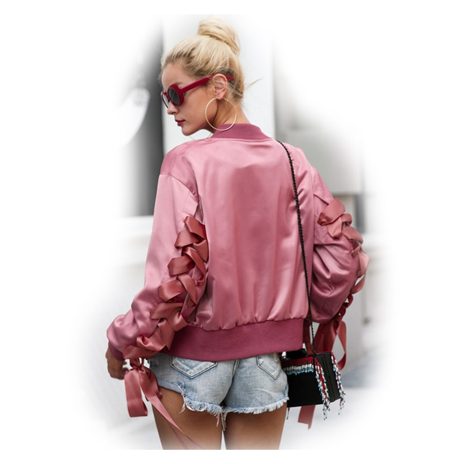 Until The Night Lace Up Bomber Jacket - The Laguna Room