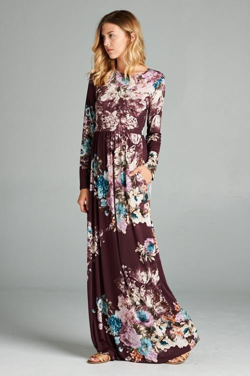 Long sleeve maxi dresses graphic