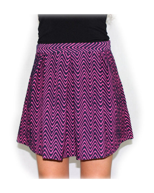 The Wrecking Ball Pink Chevron Skater Skirt - The Laguna Room
