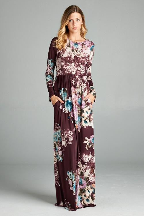 A Million Miles Floral Long Sleeved Maxi Dress - The Laguna Room