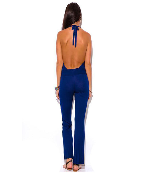 Top of the Hour Blue Halter Jumpsuit - The Laguna Room