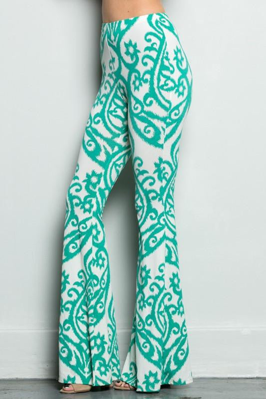 So Far Away Damask Print Flare Pants - The Laguna Room