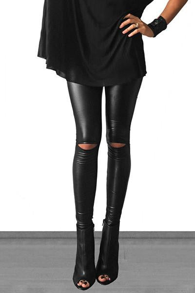 Kick It Out Faux Leather Cutout Leggings - The Laguna Room