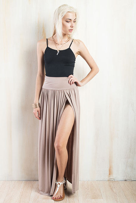 Side to Side Front Slit Maxi Skirt - The Laguna Room