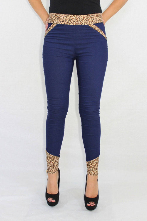 The Next Level Leopard Trim Blue Pants - The Laguna Room