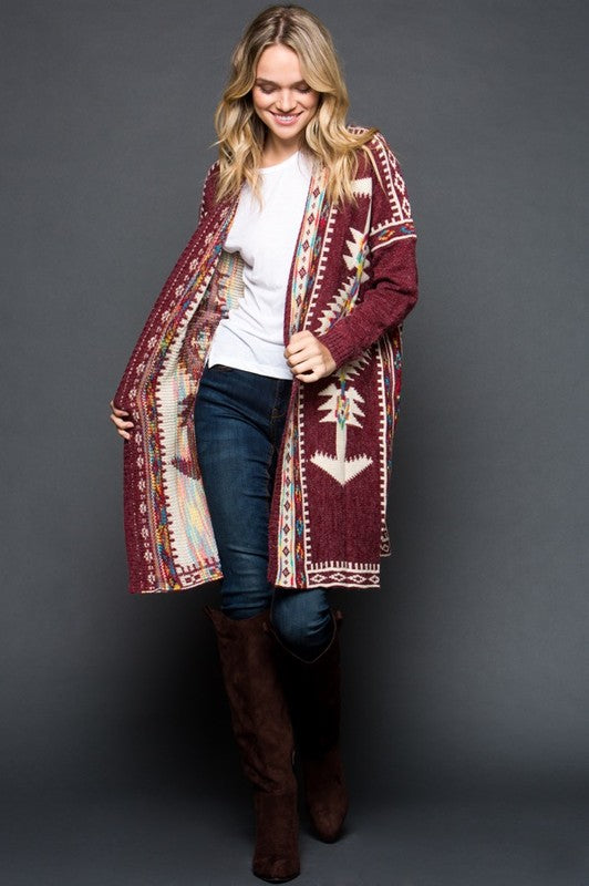 Barracuda Geo Print Cardigan - The Laguna Room