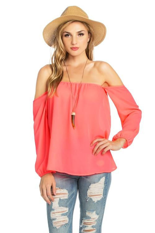 8cc3a05b6848f8 Give it a whirl off the shoulder top the laguna room jpg 500x750 Coral off  the