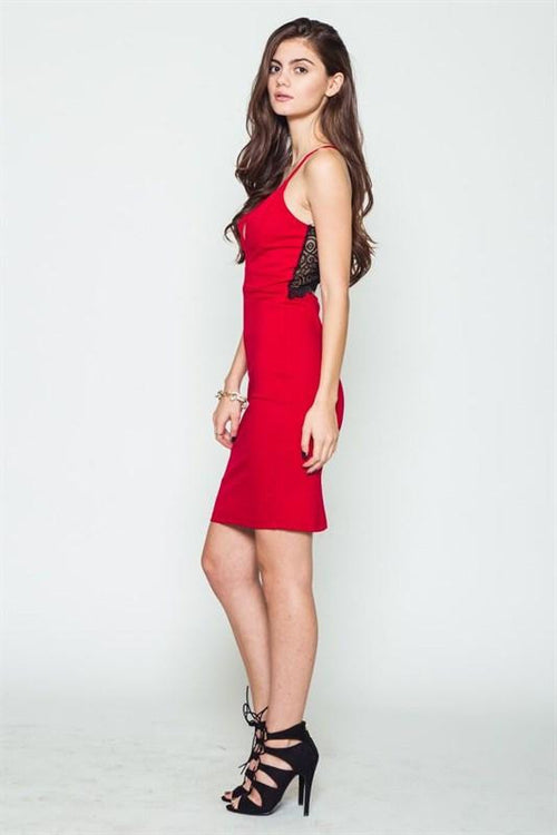 Bite My Style Lace Back Red Midi Dress - The Laguna Room