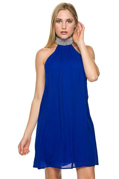 Crash the Party Embellished Halter Dress - The Laguna Room